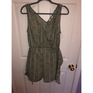 Olive Green & white romper